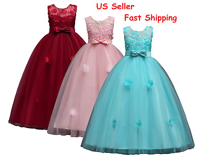 Childrens Girls Lace Red / Pink / Blue Party Wedding Bridesmaid Dress Gown O105