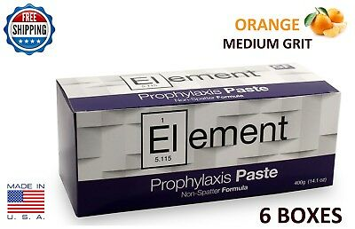 Element Prophy Paste Cups Orange Medium  200/box Dental W/fluoride - 6 Boxes