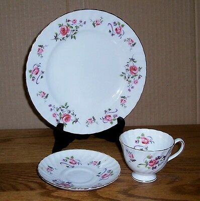 """Royal Adderley Bouquet Cup And Saucer & 8"""" Plate Fine Bone Chine Made In England"""