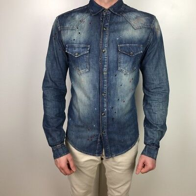 27b0fff1225 Zara Men s Denim Navy Shirt M Slim Fit Summer Festival Mens Shirts Long  Sleeve