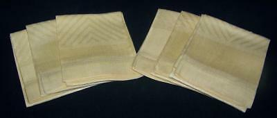 6 Large Vintage Damask Towels Hemstitch Flame Pattern Golden Yellow