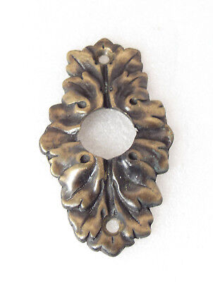 Antique Brass Vintage Victorian Ornate Leaf Push Button Door Bell Cover Plate