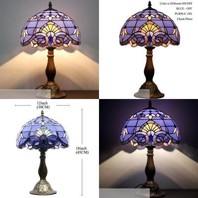 """Colored Cut Glass Lampshade Table Lamp Light 18"""" Tall Bronze Base Tiffany Style"""