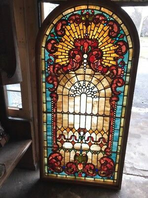 Mar 53 Gorgeous Jeweled Antique Arch Top Landing Window 33.5 X 65.5
