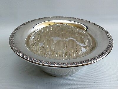 Vintage Silver Plate On Copper Rose Bowl with Moulded Glass Frog