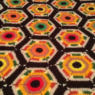 """Beautiful Extra Large Vintage Hand Crocheted Hexagon Afghan! 98"""" X 76"""""""