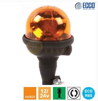 ECCO 300 12V Flexi DIN Pole/Spigot R65 Rotating Amber Hazard Warning Beacon