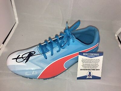 309b881e34b573 Usain Bolt Signed Official Puma Bolt Cleat Shoe Fastest Man Beckett BAS Cert