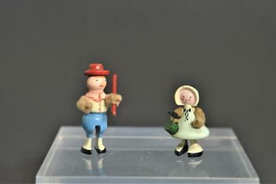 Antique Vintage German Miniature wooden Man and Woman/Girl with Fuzzy Arms~HTF