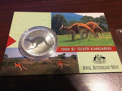 1998 $1 Australian Kangaroo 1 oz Silver Frosted Uncirculated Coin on Card