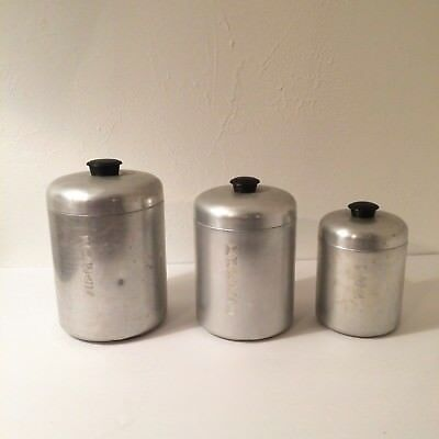 Vintage Kitchen Canisters Spun Aluminum West Germany Pantry Queen Storage