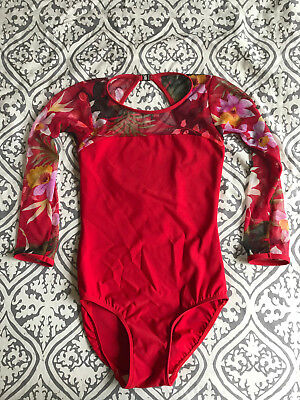 Eleve Leotard - Custom Designed - Womens - Red - Size S - Ida with Sleeves
