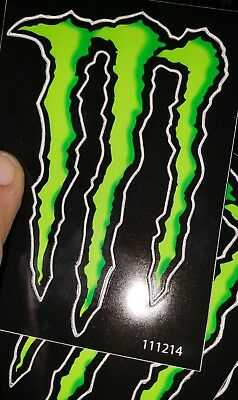 """Lot of 2 MONSTER ENERGY GREEN M-CLAW DECAL STICKERS 4"""" x 2.75"""" BRAND NEW"""