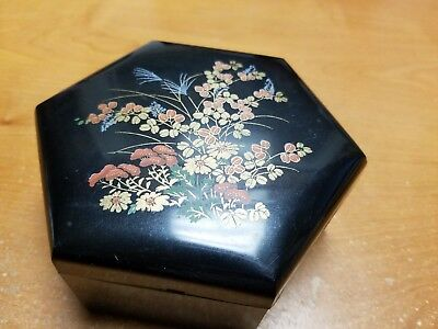 Vintage Asian Black Lacquer Ware Floral Jewelry Trinket Box Hong Kong Set of 4