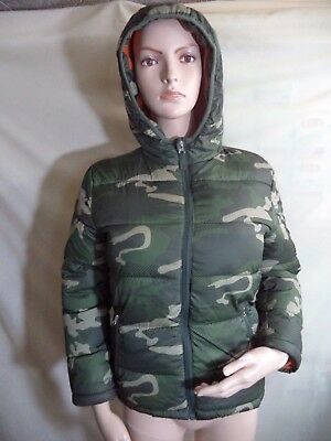 Faded Glory Hooded Coat Green Camouflage Poly Shell Lining Filler M Medium VGC