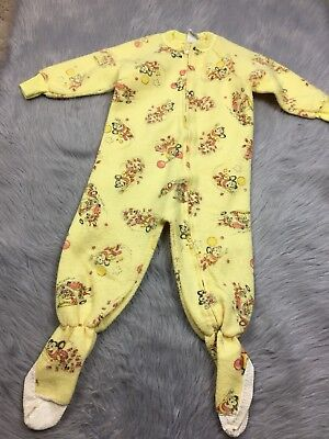 Vintage Toddler 4T Yellow Fleece 1981 Mighty Mouse Cartoon Zip Up Footed Sleeper