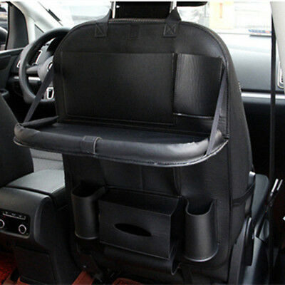 Black Leather Versatile Car Seat Back Bag Pockets Folding Storage Holder Tray 1x