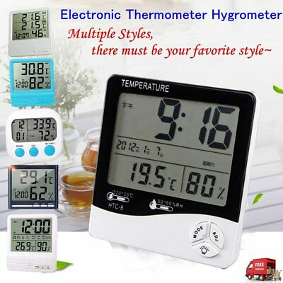 LCD Digital Electronic Thermometers Hygrometer Temperature Humidity Meter Clock