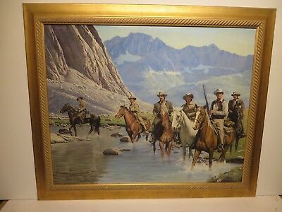 """24x30 org. oil painting on board by Sol Korby """"Cowboys Crossing River"""" Western"""