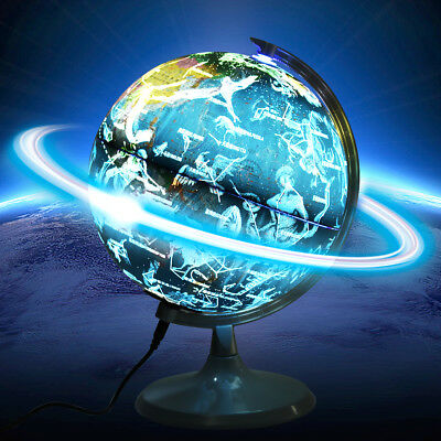 12'' Desktop Decor Constellation Illuminated Rotating Globe Earth World Map
