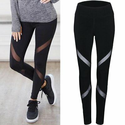 Mesh Yarn Yoga Pants High Waist Elastic Fitness Slimming Women Sport Leggings EC