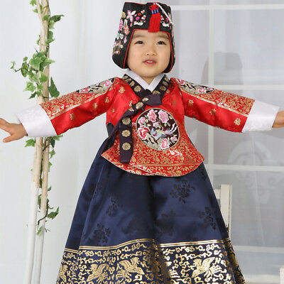 0bc572332 Hanbok Korean Baby Girl Tradition Red Gold Clothes Dress 4029 First-Birthday