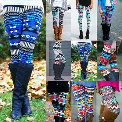 UK STOCK Women Winter Colorful Patterned Warm Leggings Snowflake Christmas Gift