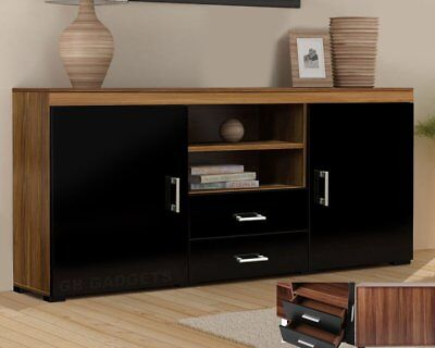 Wood TV Stand Sideboard Unit Cabinet With Drawers Shelf Glossy Black Walnut