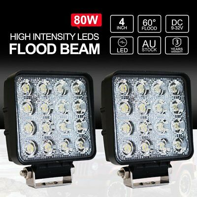 2x 80W LED Work Light Offroad Flood Square Lamp Truck Boat 4WD Bar Waterproof BO