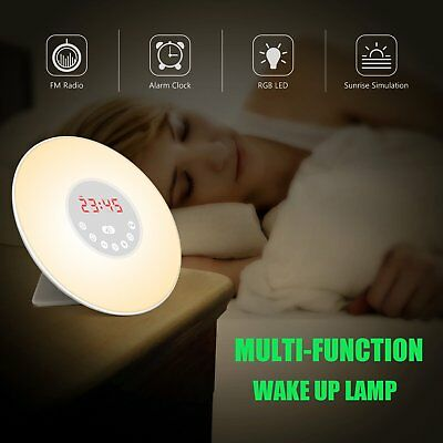 Touch Digital Wake-up Light Sunrise Simulation Alarm Clock FM Radio Night Lamp B