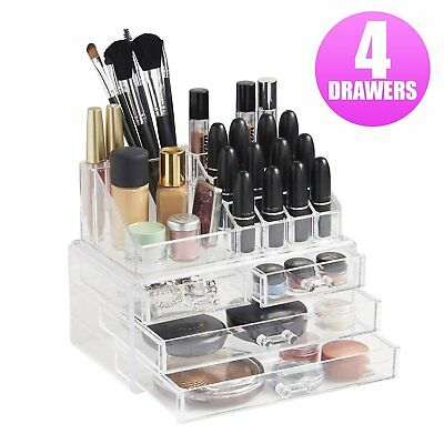 Cosmetic 4 Drawer Clear Acrylic Box Organizer Storage Jewellery Makeup Holder BS