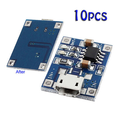 10 X1A 5V TP4056 Lithium Battery Charging Module USB Board ElectronicComponent