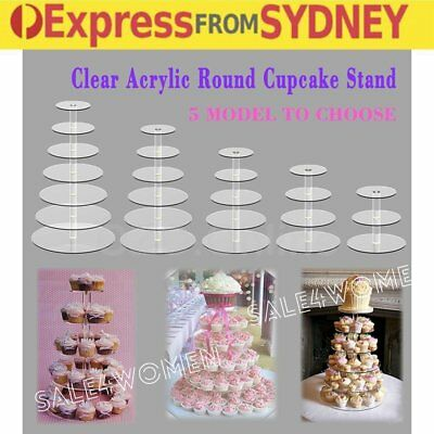 3 4 5 6 7 Tier Acrylic Round Cupcake Cake Stand Party Birthday Wedding Event BA