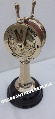 """11""""  R.M.S TITANIC BRASS Telegraph WOOD BASE COVERED RED LEATHER CHRISTMAS GIFT"""
