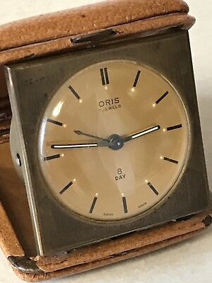 Vintage 1930s/40s brass Oris Swiss made 7 jewel 8 day Travelling  alarm clock