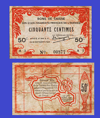 FRENCH OCEANIA 50 CENTIMES 1943 UNC - Reproduction