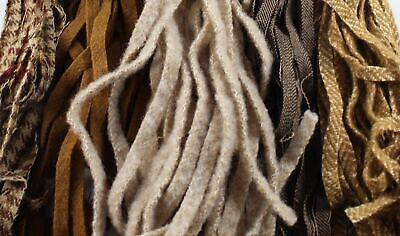 100 Assorted Brown and Tan #8 Wool Strips for Rug Hooking