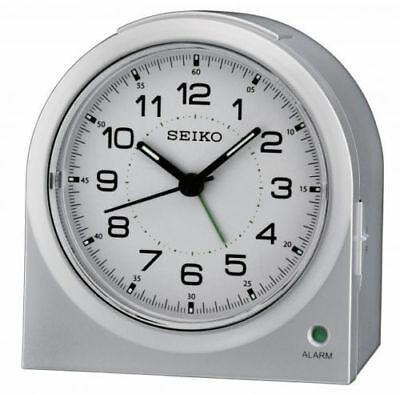 Seiko White Dial Silent Sweep Snooze Alarm Silver Bedside Desk Clock QHE085S