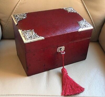 Antique Edwardian HM Sterling Silver Birmingham 1910 Red Leather Writing Box