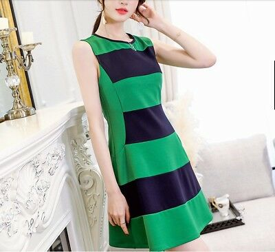 88e1c398d6 2018 Casual Korean Fashion Sleeveless A-line Crew Neck Summer Slim Striped  Dress