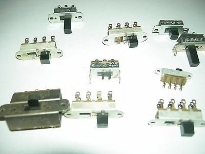 ( 10 PC. ) STACKPOLE or Continental various SLIDE SWITCH  3, 4, 6A-125VAC