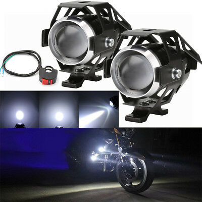 2 X Motorcycle Motorbike CREE LED U5 Headlight Driving Fog Spot Lights + Switch