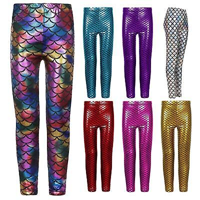 Girls Metallic Mermaid Stretchy Shiny Leggings Party Disco Club Dance Swim Pants
