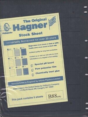 Stamp Stock Sheets Double Sided 8 Row Pack of 5 Black Pages Hagner High Quality