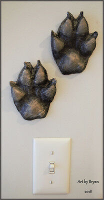Gray Wolf Tracks Wall Art Cabin Taxidermy Hunting Footprint Wildlife Cast
