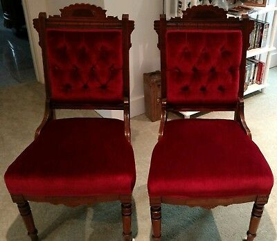 Two Antique Victorian Eastlake Walnut Parlor Chairs - Burgundy Velvet Seats - TWO ANTIQUE VICTORIAN Eastlake Walnut Parlor Chairs - Burgundy
