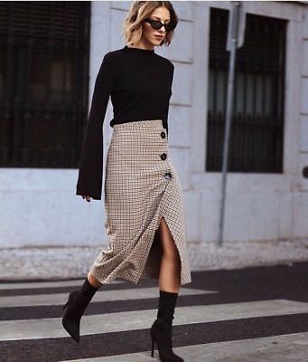 703c9c71ad New Zara 2017 Tan Check Wrap Style Midi Skirt Front Buttons Size M Rare