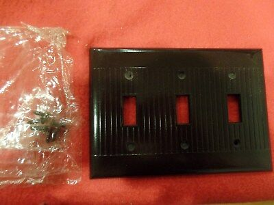 1 Vintage Sierra Electric Brown Ribbed 3 Gang Deco Light Switch Wall Plate