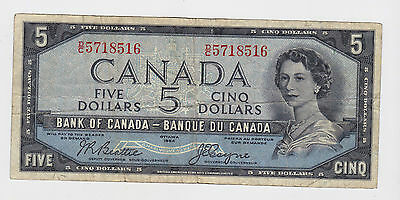 Canada - 1954, Five (5) Dollars  !!Devil's Face!!