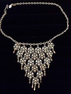 Vintage Estate Jewelry Egyptian Revival Gold Tone Bib Chandelier Necklace